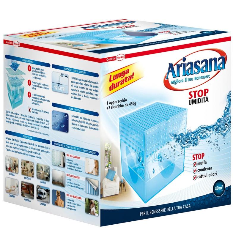 Ariasana - Assorbi-Umidità Cubo Maxi + 2 ricariche 450gr.
